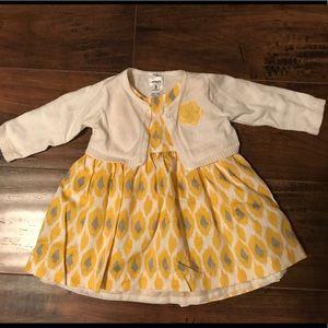 Carter's girls 3 mos sleeveless dress with sweater